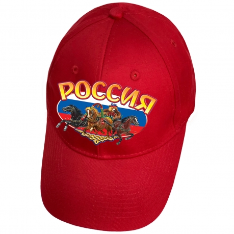 Красная бейсболка с термотрансфером Россия
