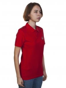 Красная футболка поло «Юнармия» для девочек