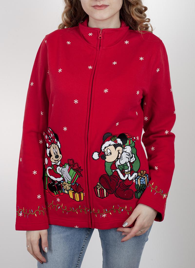 Красная женская толстовка на молнии. Невероятный дизайн из новогодней коллекции Disney Parks. Высокий ворот, мультяшный принт, приятная цена. Крошка, ты будешь пищать от восторга!