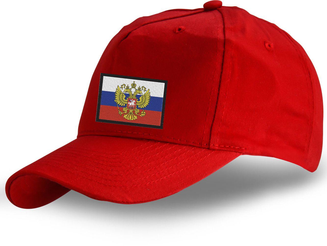 Красная кепка патриота России - заказать оптом