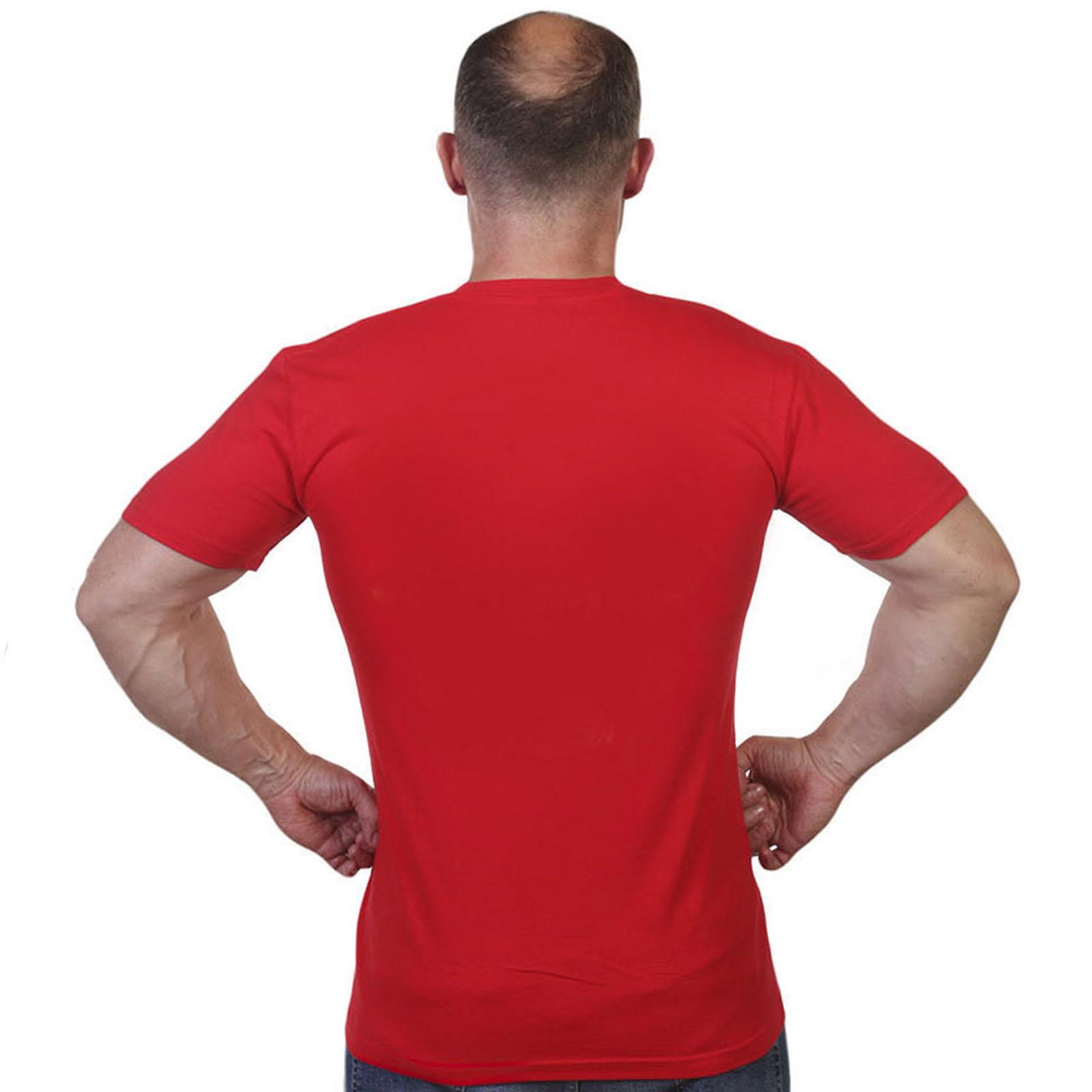 Красная однотонная мужская футболка - высокого качества