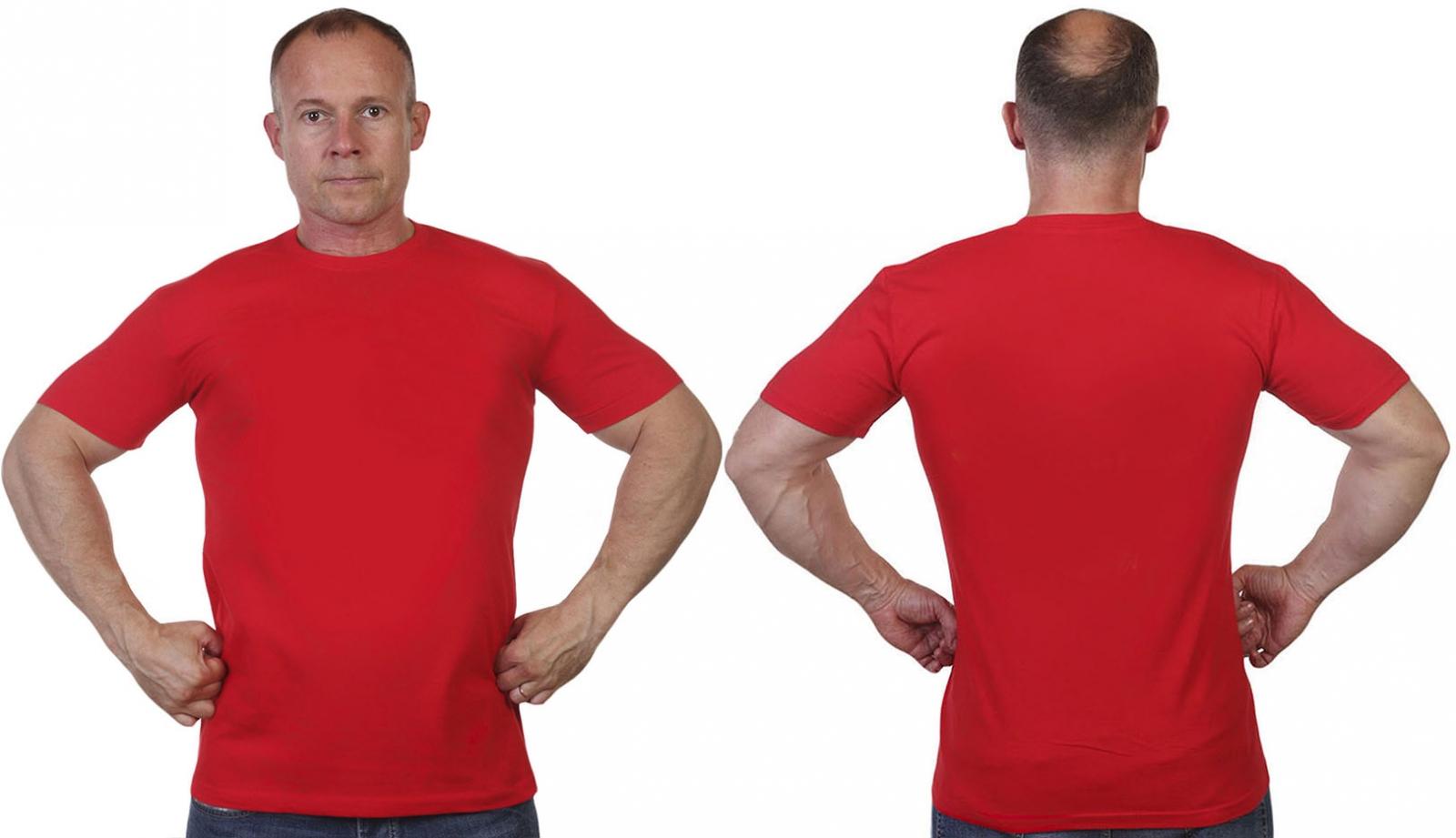 Красная однотонная мужская футболка в Военпро