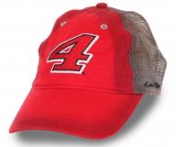 Красная спортивная бейсболка №4 с крутым градиентом-переходом. Вентиляционная сетка, вышивка фабричного качества, модный пятипанельный дизайн