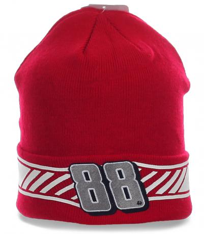 Красная спортивная мужская шапка с отворотом «Две восьмерки» фанатам зимнего спорта