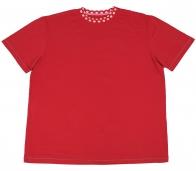 Красная  стильная  футболка для отдыха  за городом
