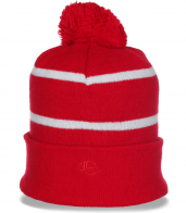 Красная зимняя спортивного фасона женская стильная шапка с отворотом утепленная флисом