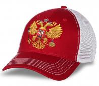 """Красно-белая бейсболка """"Russia"""" с сеткой. Эффектная модель лучшего качества. Заказывай и будь в центре событий!"""