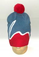 Красно-голубая шапка с помпоном и белой полосой