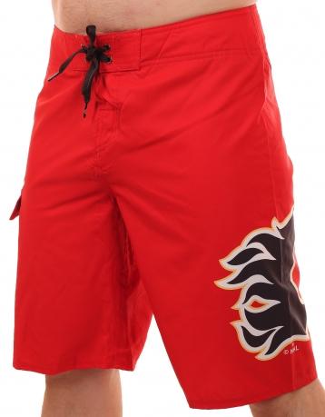 Красные бордшорты с логотипом профессионального хоккейного клуба Calgary Flames (НХЛ)