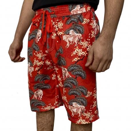 Красные мужские шорты с принтом от Septwolves