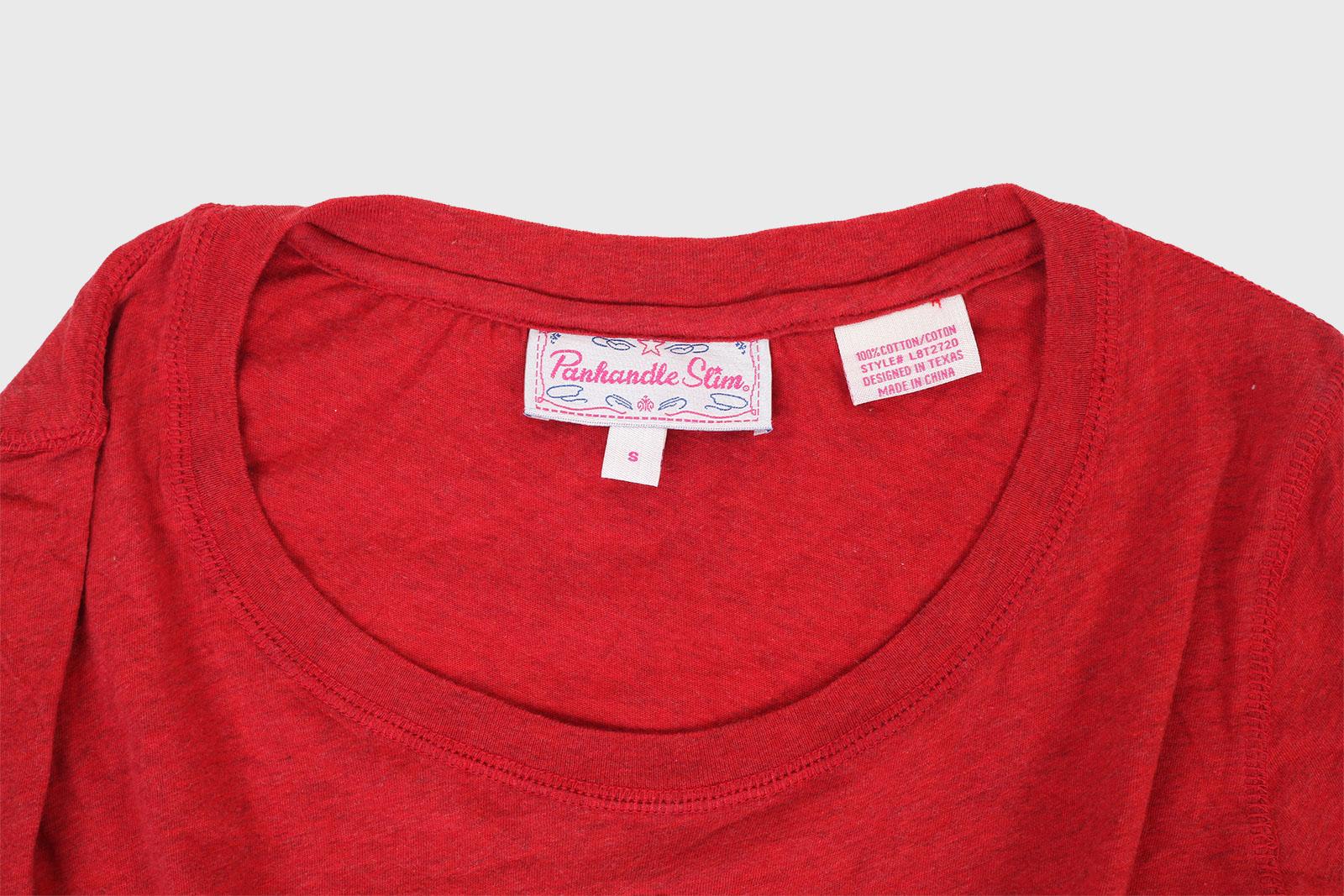 Красный женский реглан Panhandle Slim с аппликацией на груди
