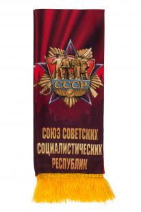 """Красный шелковый шарф """"Советский"""" авторского дизайна"""