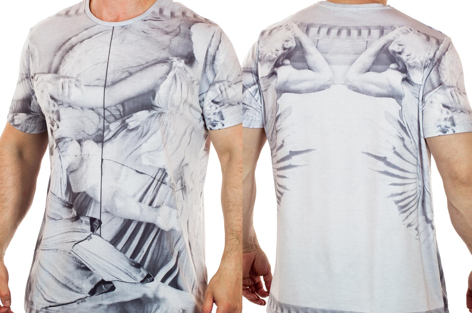 Креативная мужская футболка Splash с текстурой холодного мрамора. Имиджевая модель