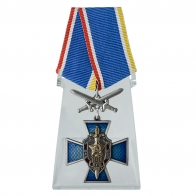 Крест 100 лет ВЧК-КГБ-ФСБ с мечами на подставке