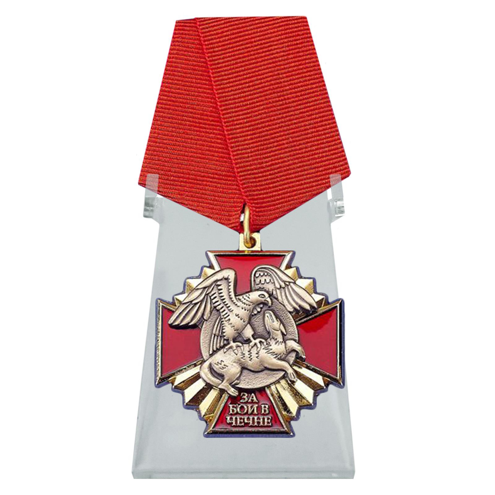 Крест За бои в Чечне на подставке