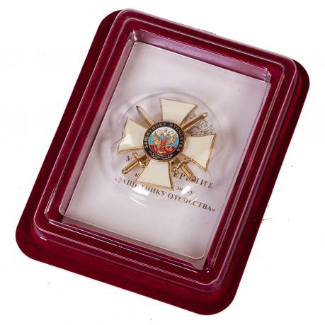 """Крест """"Защитнику Отечества"""" в футляре из флока бордового цвета"""