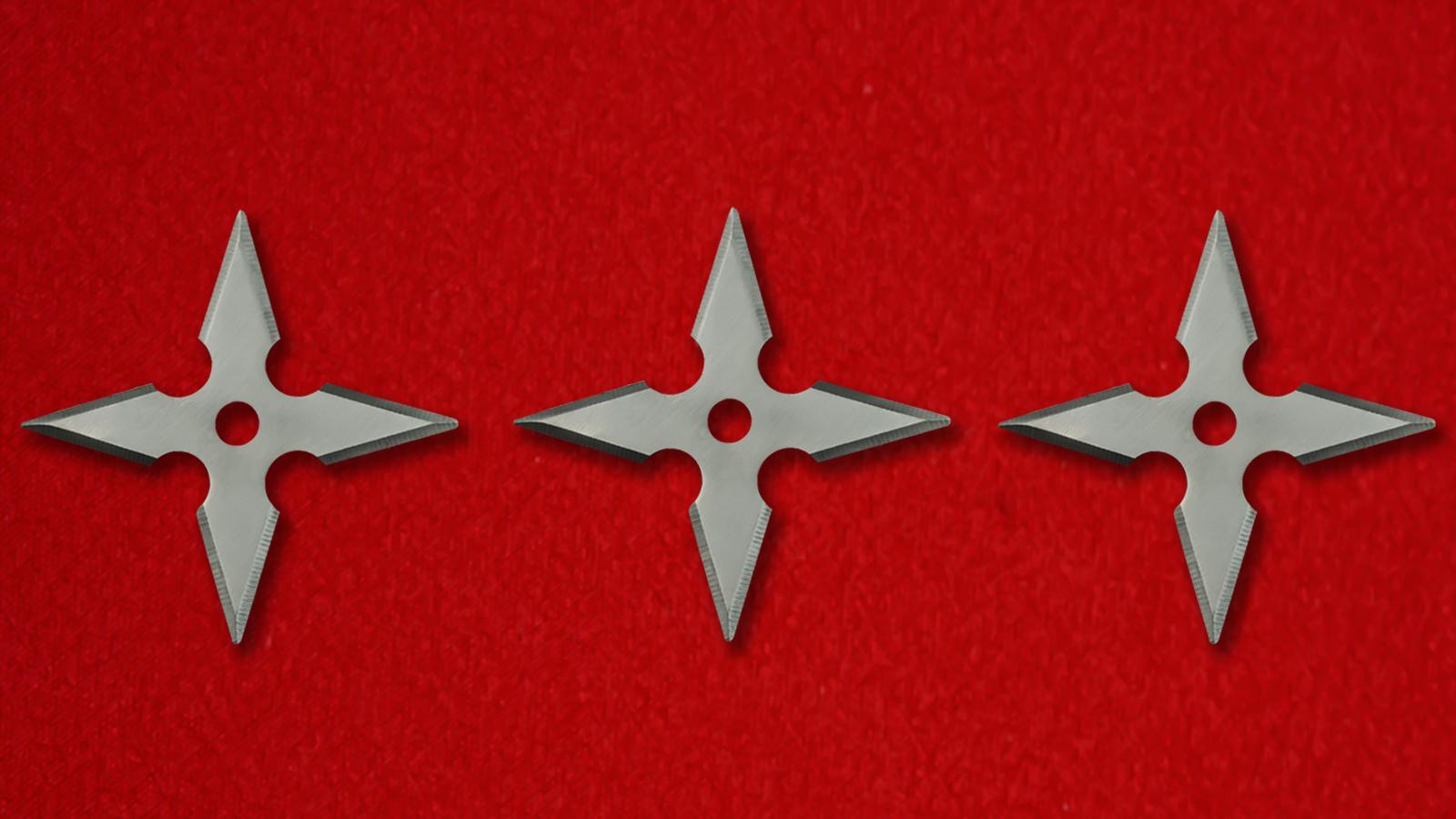 Крестообразные сюрикены металлические в наборе