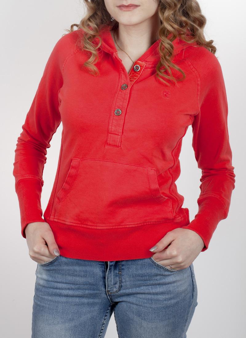 Улётная женская кроп-худи Fraspens. Насыщенный коралловый цвет, карман кенгуру и удобный капюшон. С зауженными джинсиками смотрится потрясно! Заказывай, Крошка!