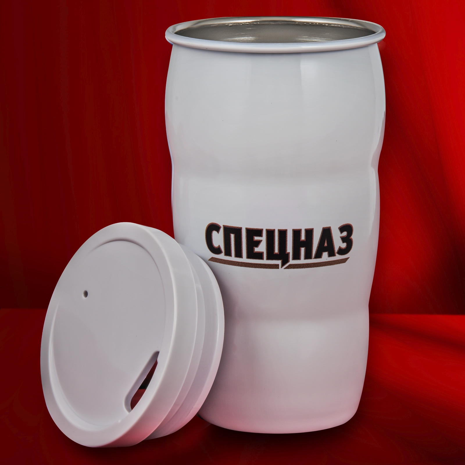 Купить белую термокружку Путина с надписью «Спецназ»