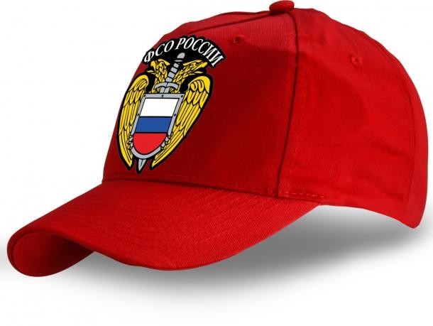 Крутая красная бейсболка унисекс с официальным гербом ФСО.