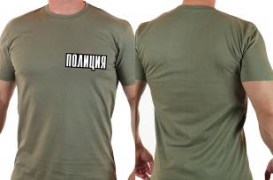 """Крутая футболка хаки с надписью """"Полиция"""" с доставкой"""
