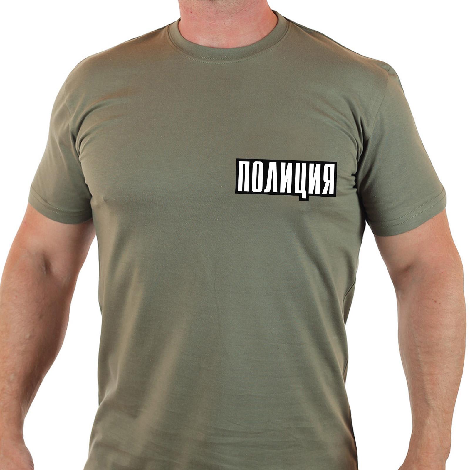 """Крутая футболка хаки с надписью """"Полиция"""""""