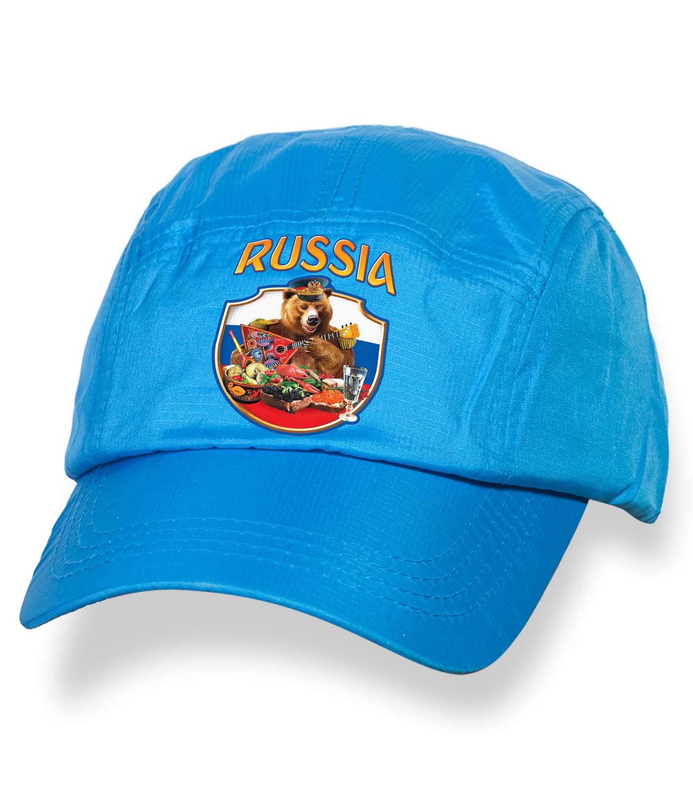 Крутая голубая кепка-пятипанелька с термонаклейкой Russia