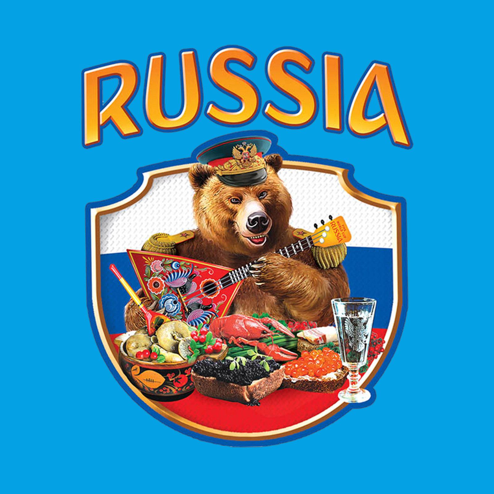 Купить крутую голубую кепку-пятипанельку с термонаклейкой Russia в подарок мужчине