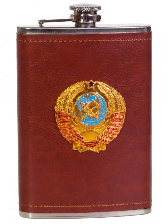 Крутая карманная фляжка с металлической накладкой Герб СССР