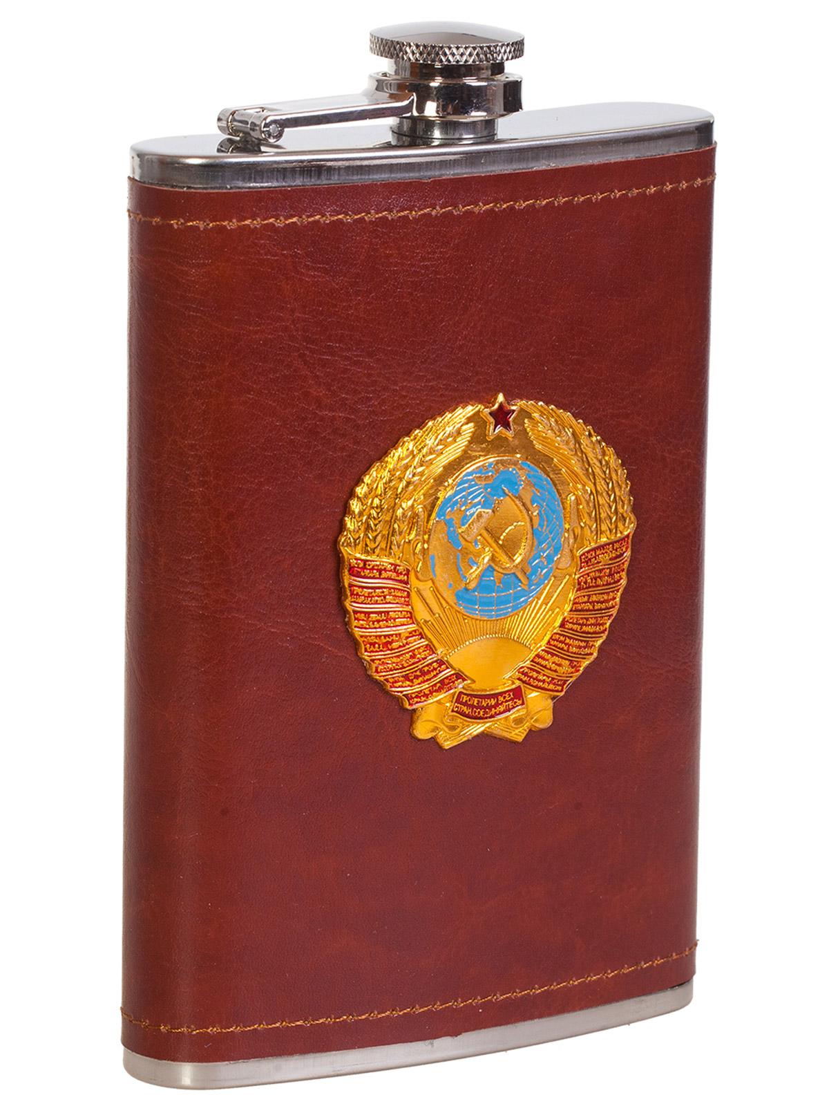 Купить крутая карманная фляжка с металлической накладкой Герб СССР оптом выгодно