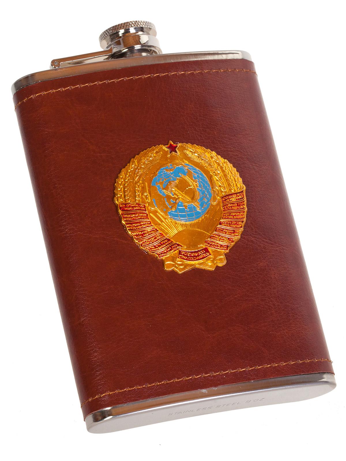 Крутая карманная фляжка с металлической накладкой Герб СССР - купить оптом