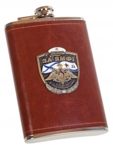 Крутая карманная фляжка с накладкой ВМФ в кожаном чехле - купить выгодно