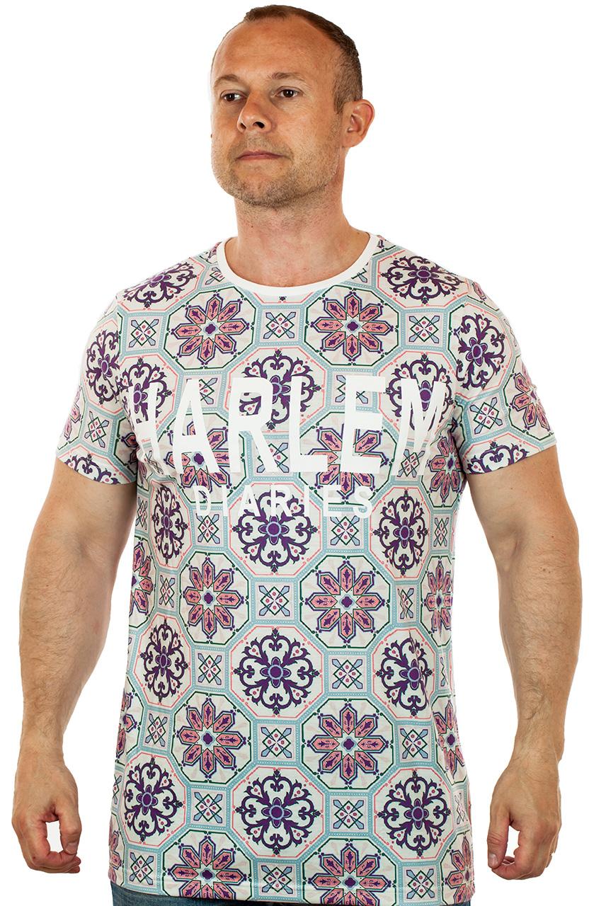 Дешева футболка с абстрактными цветами для модных мужчин