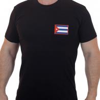 Крутая мужская футболка с вышитым флагом Кубы