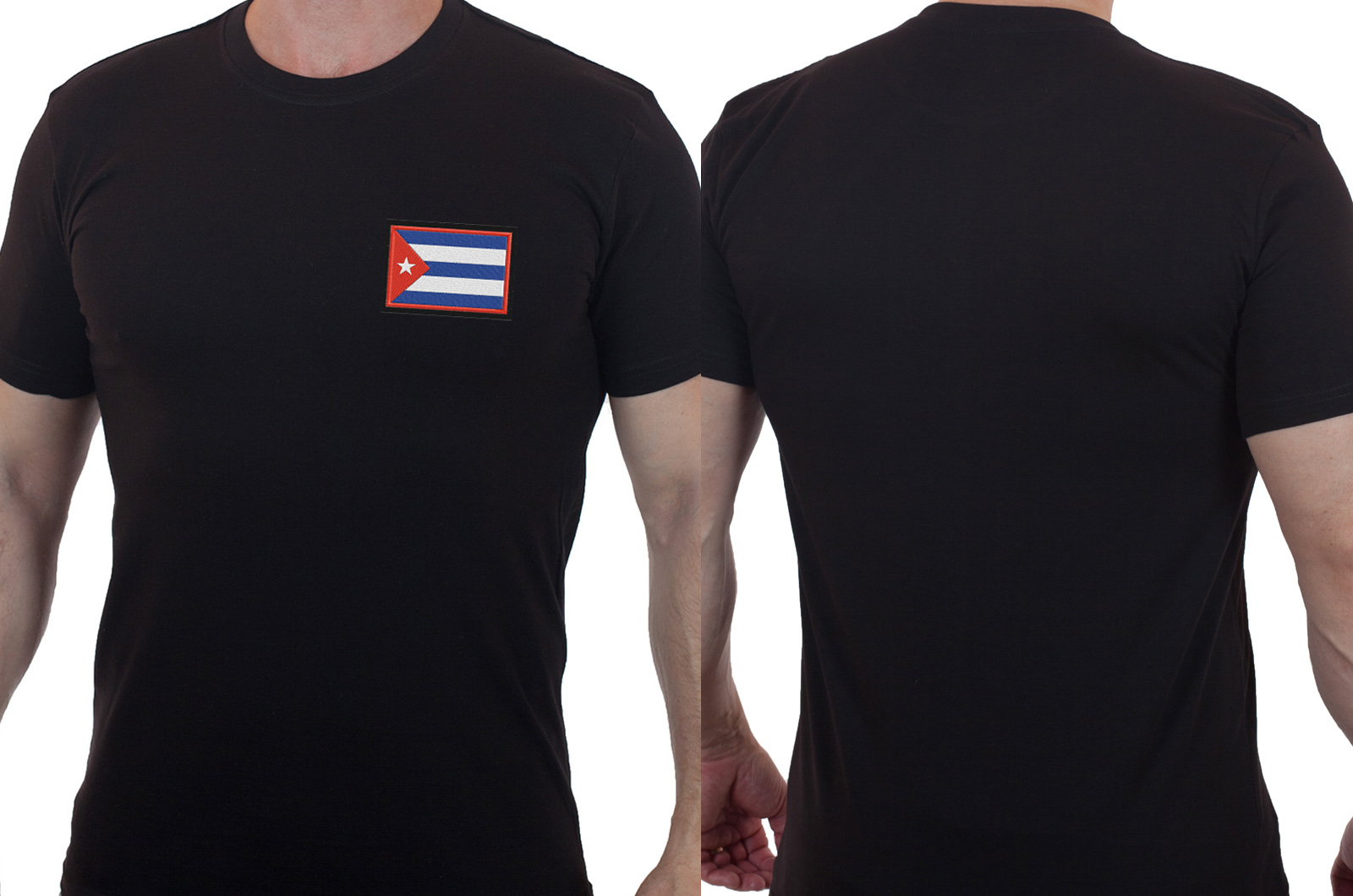 Крутая мужская футболка с вышитым флагом Кубы - купить в Военпро