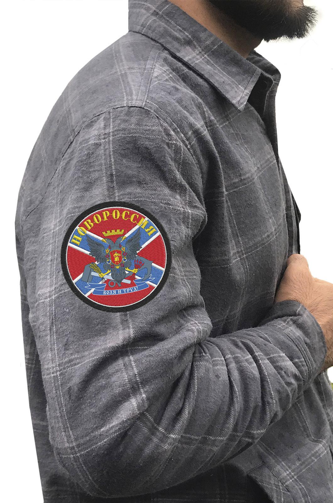 Крутая мужская рубашка с вышитым флагом и гербом Новороссии - купить онлайн
