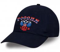 Крутая патриотическая кепка с дизайнерским принтом Россия в цветах триколора подчеркнет Вашу индивидуальность и послужит отменным сувениром всем болельщикам