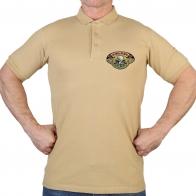 Крутая песочная футболка-поло с охотничьей вышивкой