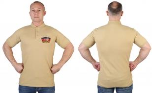 Крутая песочная футболка-поло с термонаклейкой ГСВГ