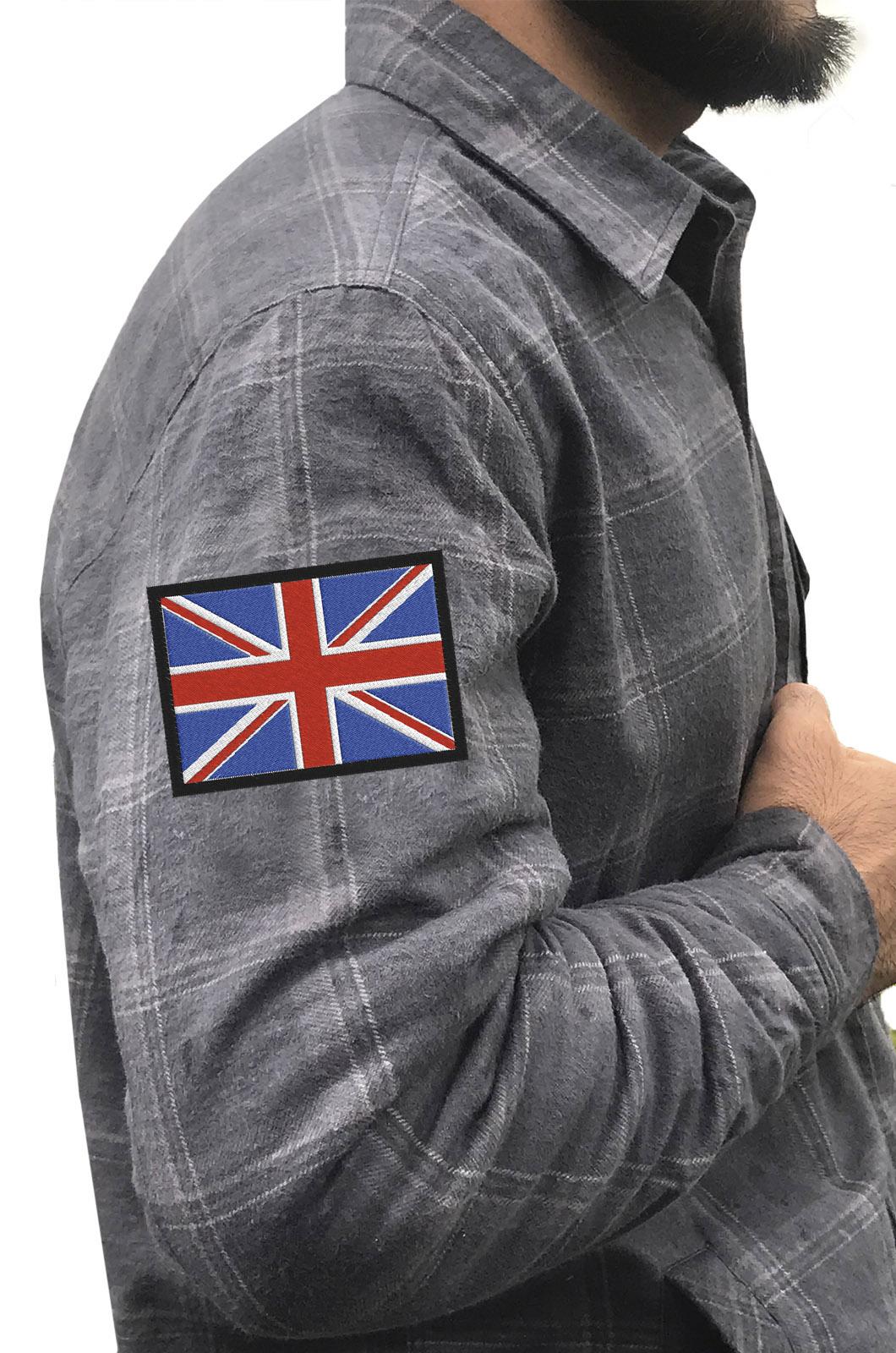 Крутая рубашка с вышитым флагом Великобритании - купить выгодно