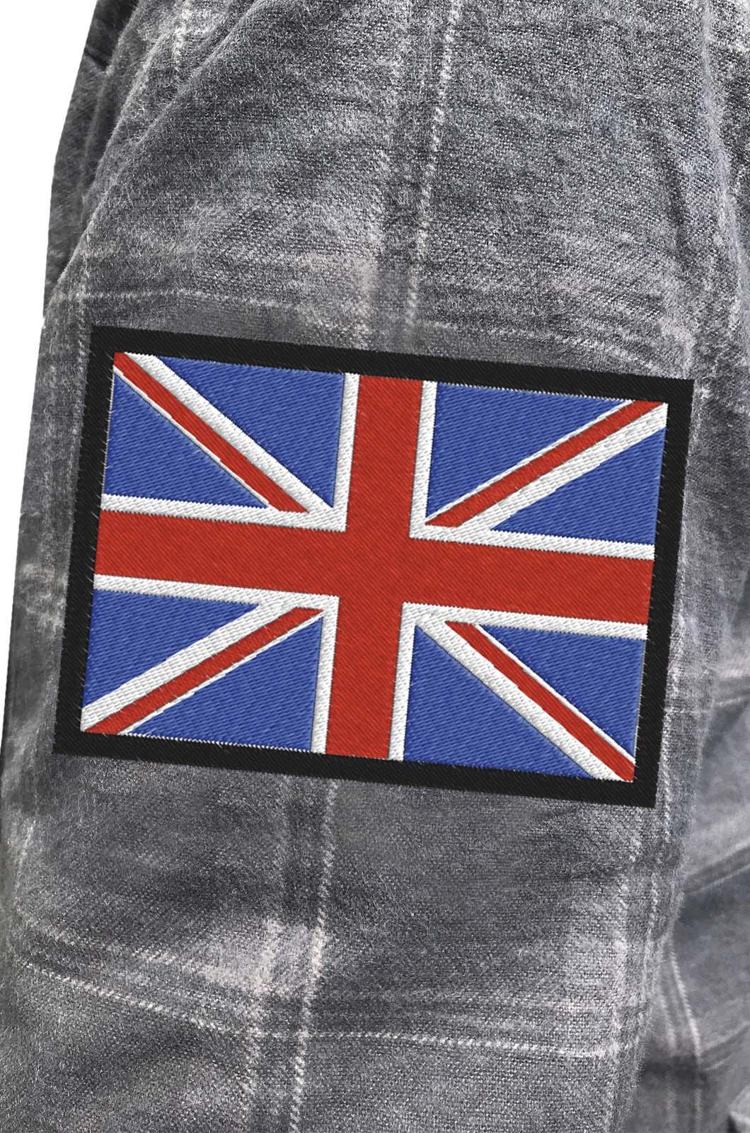 Крутая рубашка с вышитым флагом Великобритании - купить оптом