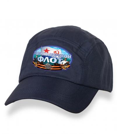 Крутая темно-синяя бейсболка с термонаклейкой ВМФ