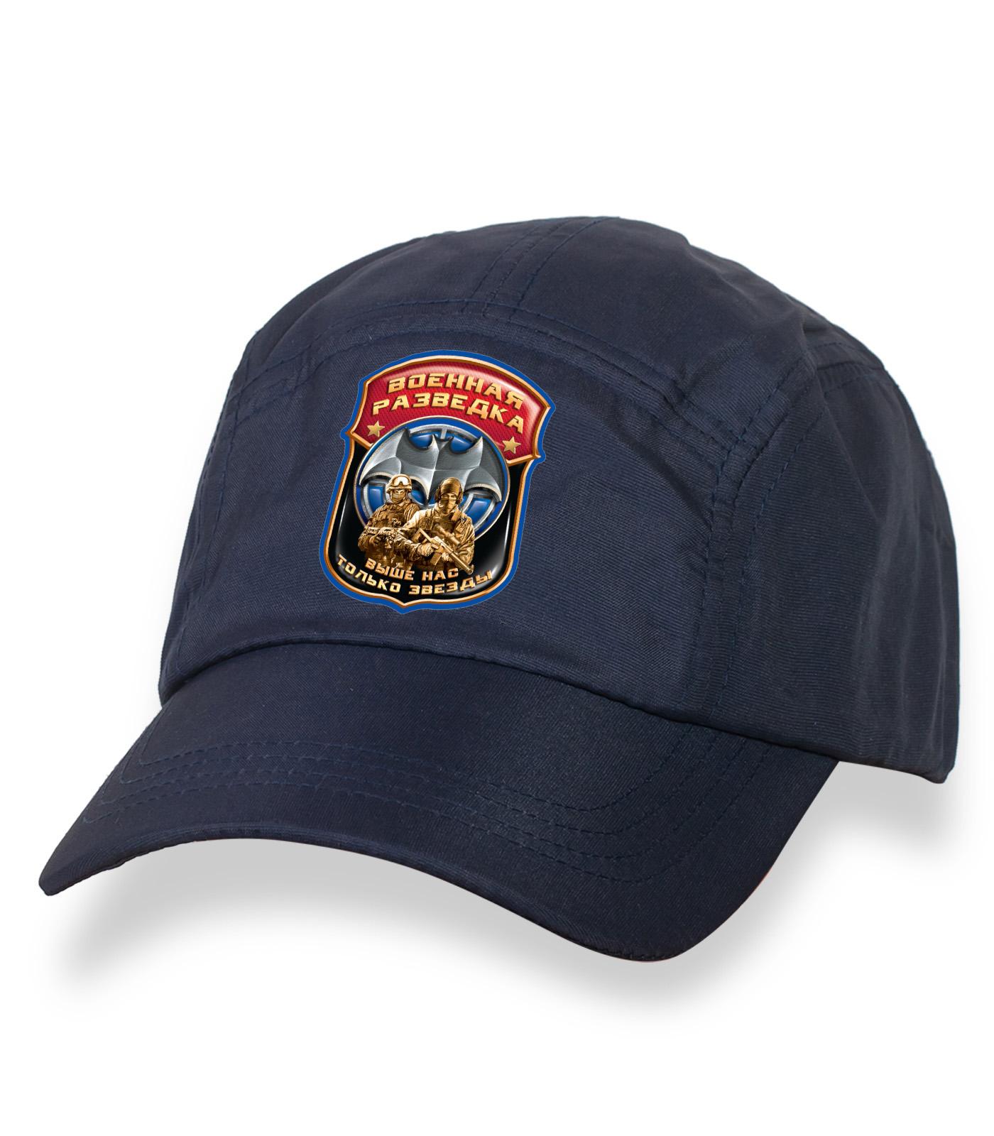 Крутая темно-синяя бейсболка с термотрансфером Военная Разведка