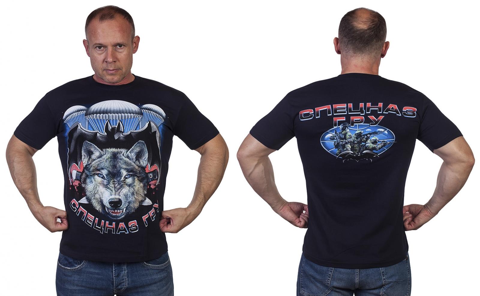 """Крутая темно-синяя футболка """"Спецназ ГРУ"""" - купить по низкой цене"""