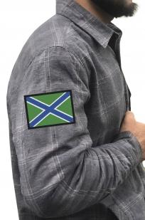 Крутая теплая рубашка с вышитым шевроном МЧПВ РФ - купить в розницу