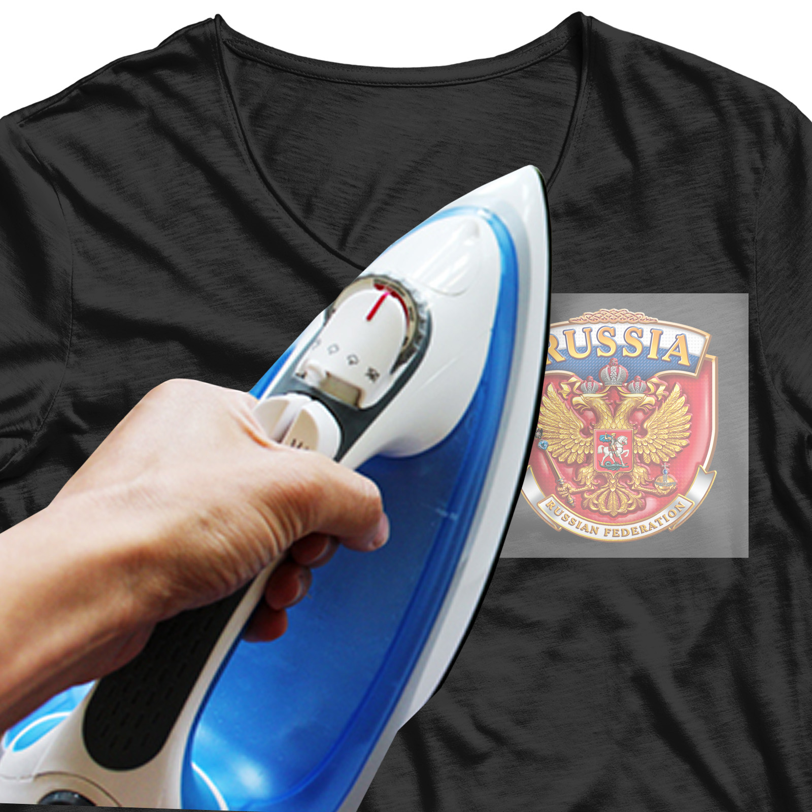 Крутая термотрансферная картинка Герб России - купить оптом