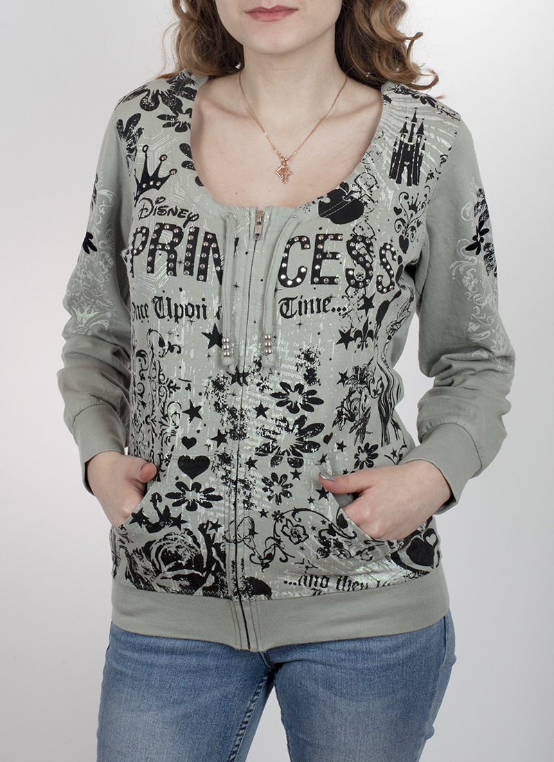 4d757d50e10 Крутая женская кофта-толстовка на молнии. Уникальный дизайн от Disney Parks  (принт + стразы)