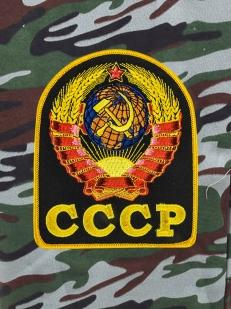Крутые камуфляжные шорты свободного фасона с нашивкой СССР
