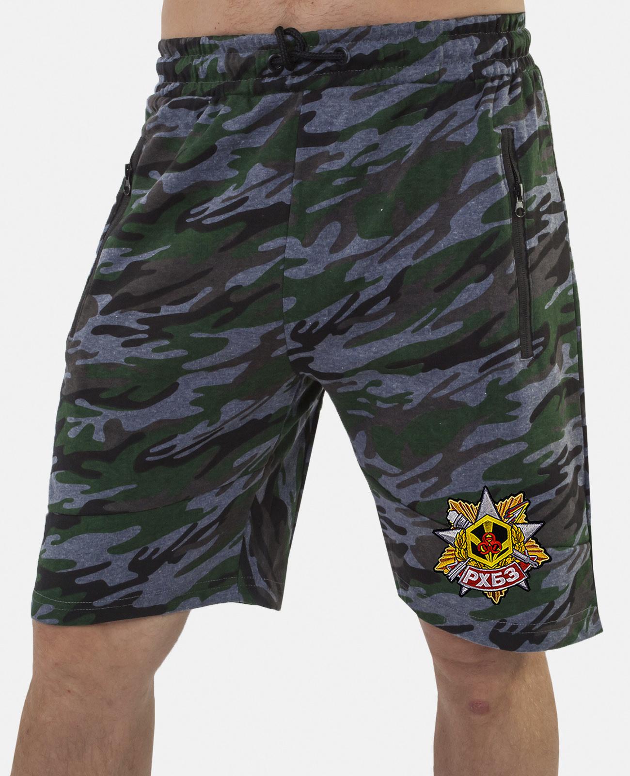 Купить крутые милитари шорты удлиненного фасона с нашивкой РХБЗ в подарок мужу