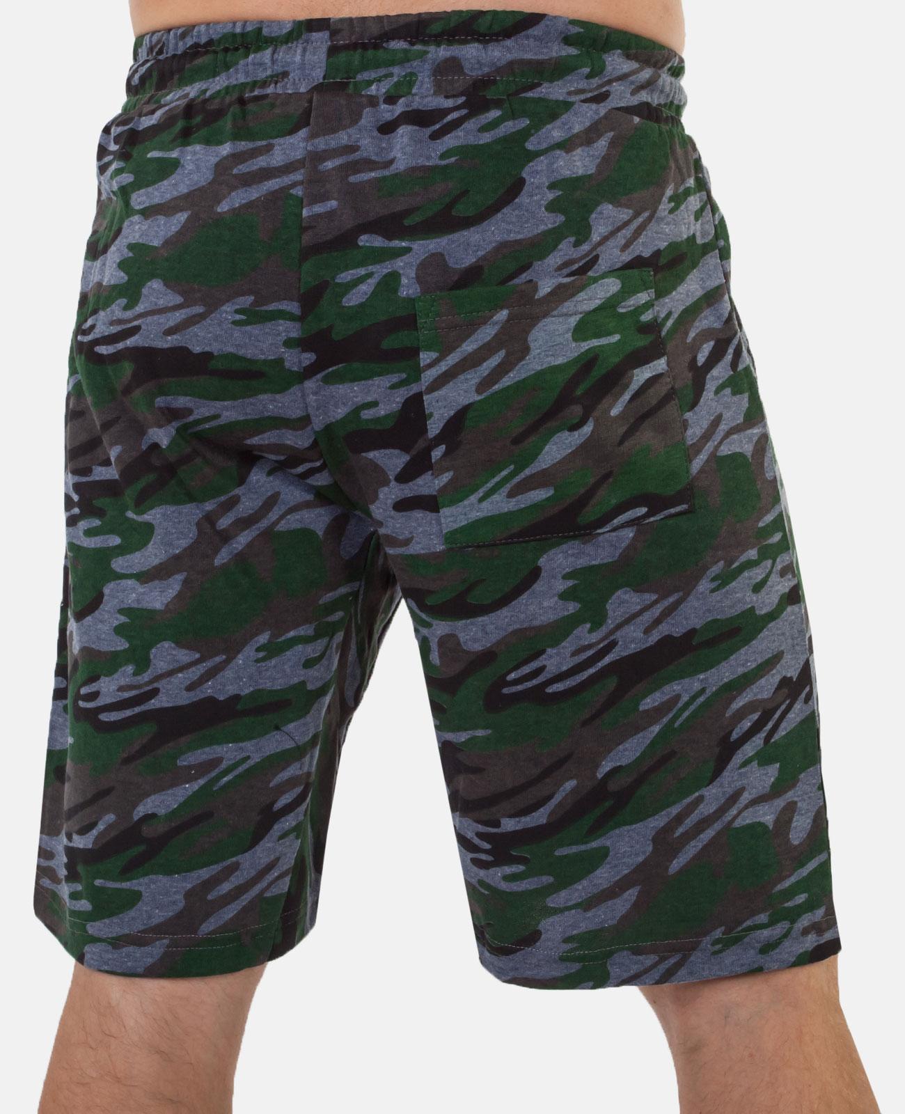 Крутые милитари шорты удлиненного фасона с нашивкой РХБЗ - заказать онлайн